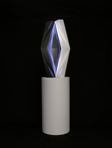 Fabrice AINAUT - Scultura Volume - Objet lumino-cinétique programmé noir et blanc