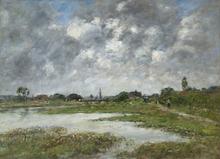 Eugène BOUDIN - Peinture - La Touque à Trouville