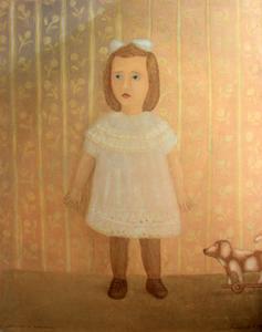 Roman ANTONOV - Pintura - The girl with a toy puppy