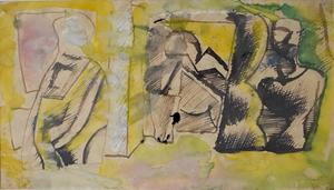 Mario SIRONI - Dessin-Aquarelle - Studies for Three Figures