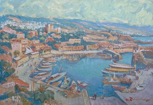 Martin LINDENAU - Pintura - Liban - Byblos le petit port