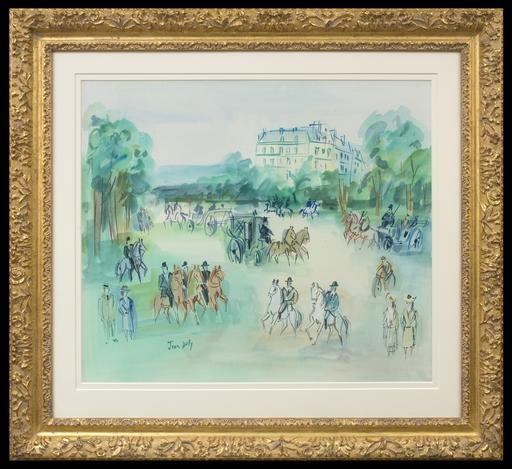 Jean DUFY - Dibujo Acuarela - Calèches et Cavaliers Près du Bois de Boulogne