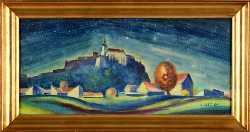Leon GETZ - Zeichnung Aquarell - Town by Night