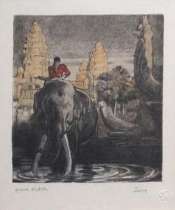 Paul JOUVE - Estampe-Multiple - Eléphant devant le temple d'Angkor-Vat