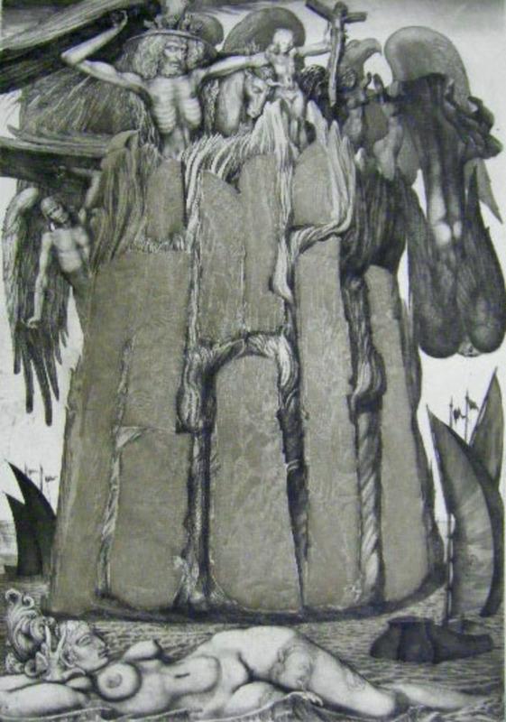 Ernst FUCHS - Print-Multiple - The Prison of Ikarus
