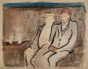 Edvard MUNCH - Dibujo Acuarela - Two seated Men