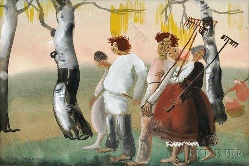 Boris Dimitrevitch GRIGORJEFF - Dibujo Acuarela - Russian Peasants
