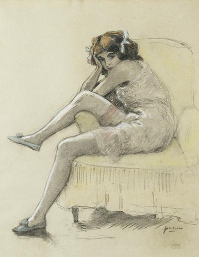 Jules PASCIN - Disegno Acquarello - Sitzendes Mädchen