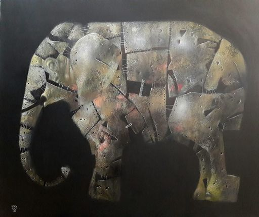 Bobur ISMOILOV - Pintura - The parable of the elephant