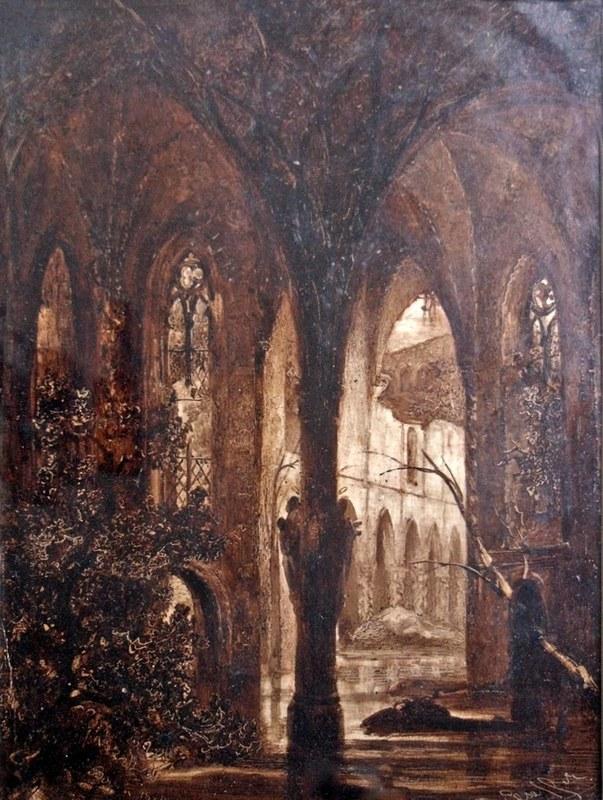 Julius Albert ELSASSER - Dibujo Acuarela - Eglise