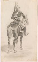 "Edouard DETAILLE - Dibujo Acuarela - ""French Dragoon"", Late 19th Century"