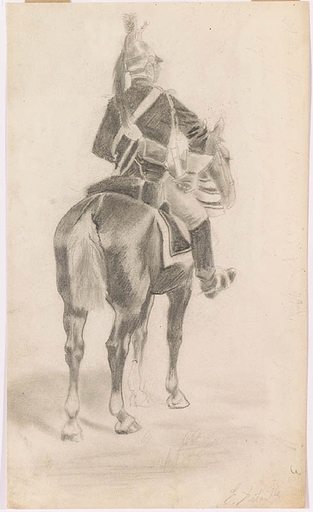 """Edouard DETAILLE - Drawing-Watercolor - """"French Dragoon"""", Late 19th Century"""