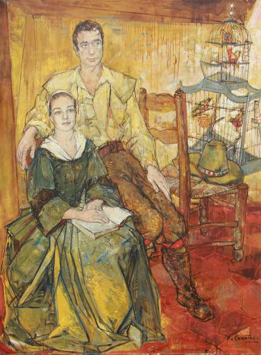 Jean COMMERE - Pintura - portrait d'Yves Montant et Simone Signoret
