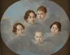 "Karl Josef Aloys AGRICOLA - Painting - ""Children Group Portrait"", Oil Painting"