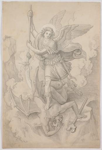 "Johann Michael WITTMER - Dessin-Aquarelle - ""St. Michael"", 1867, Drawing"