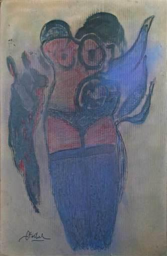 Edgar STOEBEL - 绘画 - Figura-synthèse nu aux bas bleus