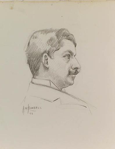 "Alonzo Myron KIMBALL - Zeichnung Aquarell - ""Male Portrait"""