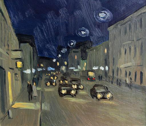 Valeriy NESTEROV - Painting - Night Sretenka street. Moscow