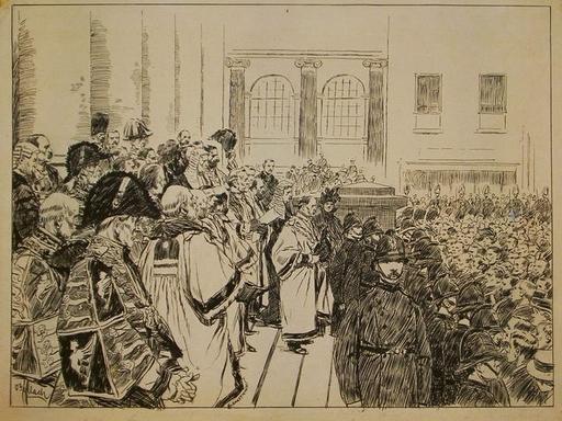 Otto GERLACH - Dibujo Acuarela - Proklamation des Prinzen von Wales 1901