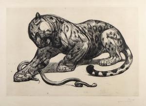 Paul JOUVE - Grabado - Jaguar et serpent