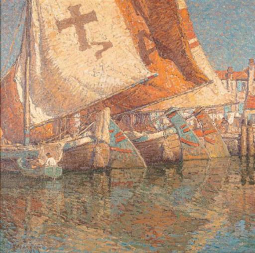 Edgar Alwin PAYNE - Pintura - Bateaux à Chioggia, Italie