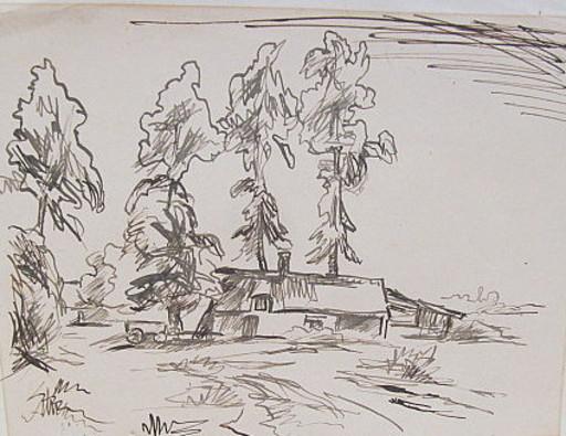 Erich HARTMANN - Disegno Acquarello - #19884: Häuschen unter Bäumen.