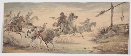 """Ludwig KÜBLER - Dessin-Aquarelle - """"Gendarmes and Robbers"""" by Ludwig Kuebler, Watercolor, 1850"""