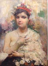 José GARCÍA RAMOS - Peinture - Donna con ventaglio