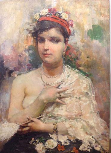 José GARCÍA RAMOS - Pintura - Donna con ventaglio
