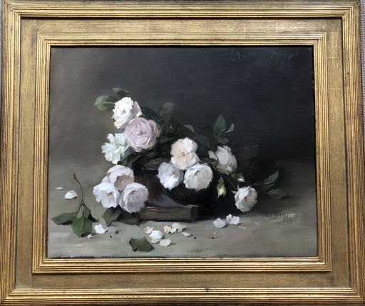 Nicky PHILIPPS - Pittura - Old fashioned roses in a trug