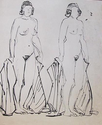 Erich HARTMANN - Disegno Acquarello - #19899: 2 stehende Frauen - Akt.