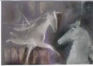 Marino MARINI - Drawing-Watercolor - Grazing Horses