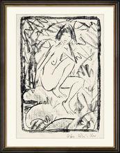 奥托·穆勒 - 版画 - Sitzende von Blattwerk umgeben (helle Fassung)