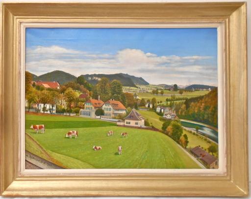 Adolf WYTTENBACH - Painting - Village campagne Suisse canton de Berne