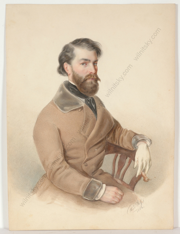 "Friedrich WOLF - Miniatur - ""Male portrait"", watercolor, 1852"