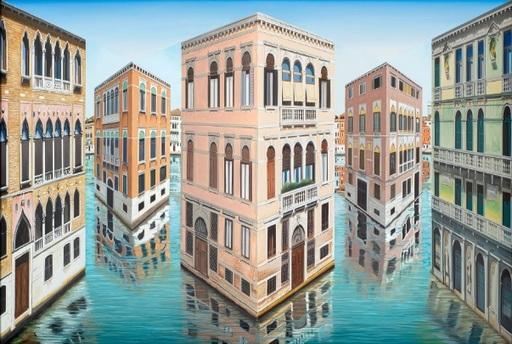 Patrick HUGHES - Peinture - Polychrome Palazzo