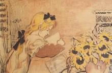 Georges LEMMEN - Dibujo Acuarela - Lise à sa lecture