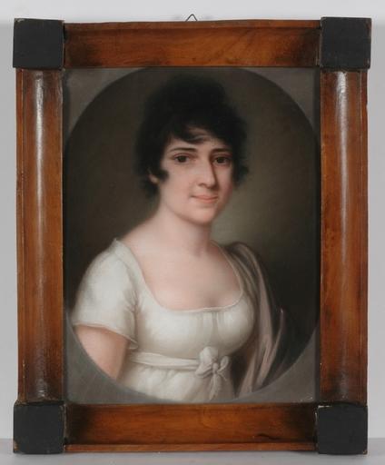 """Dessin-Aquarelle - """"Portrait of a Court Lady"""", Pastel"""