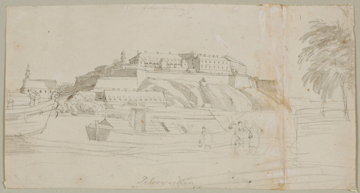 """Joseph GERSTMEYER - Drawing-Watercolor - """"Petrovaradin Fortress in Serbia"""" drawing, ca. 1840"""