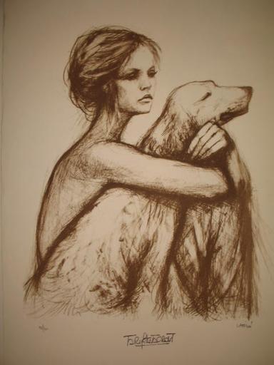 Pierre LAFFILLÉ - 版画 - Brigitte Bardot et son chien,1985.
