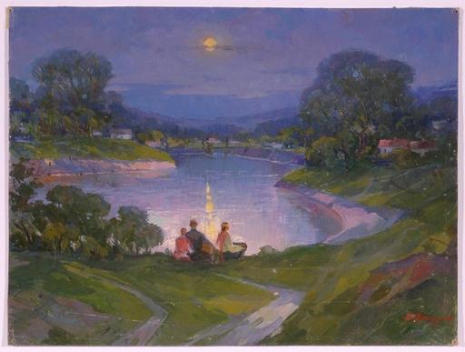 """Andrei Ilech POTAPENKO - Pittura - """"Night at Dnepr"""", Oil Painting, 1961"""