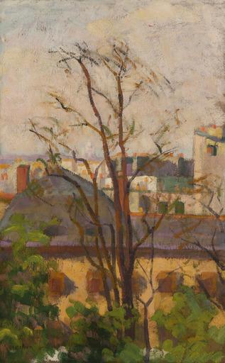 Auguste HERBIN - Painting - Paysage à l'arbre, toits de Paris