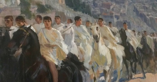 """Ulpiano CHECA Y SANZ - Peinture - """" La fête des Panathénées à Athènes"""" Parthénon"""