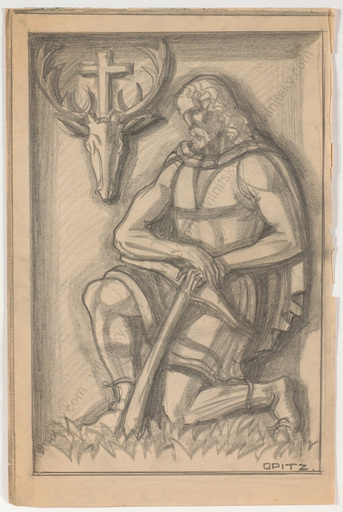 """Ferdinand OPITZ - Dibujo Acuarela - """"St. Hubertus / Project for a bas-relief"""", drawing, 1930s"""