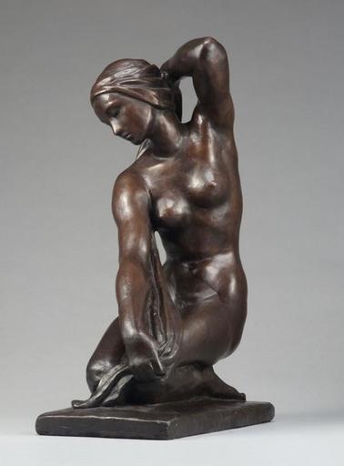 Fritz KLIMSCH - 雕塑 - Knieende mit Badetuch