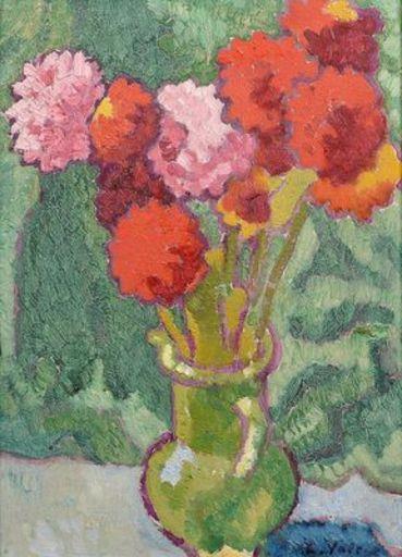 Louis VALTAT - Painting - Nature morte au vase vert