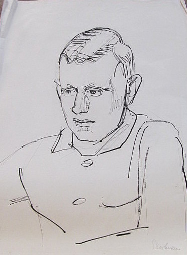 Erich HARTMANN - Disegno Acquarello - #19866: Junger Mann im Profil.