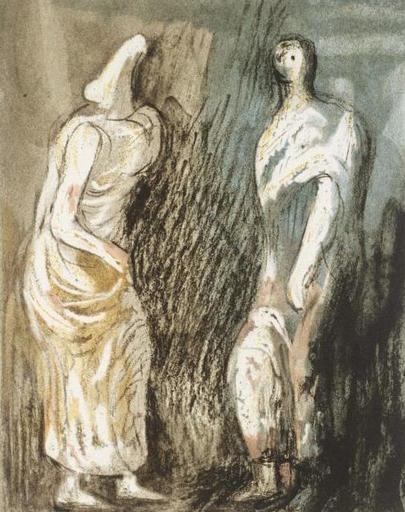 Henry MOORE - Stampa Multiplo - Man and Woman