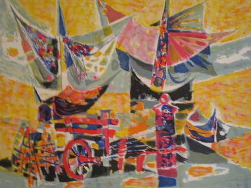 René MARGOTTON - Print-Multiple - Les voiliers,1965.