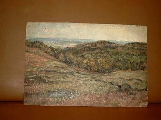 Georg HACKER - Painting - Hügelige Landschaft mit weiter Fernsicht